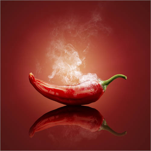 Adesivi murali Red Hot smoking Chili still life