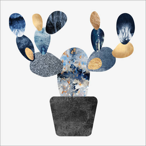 Adesivo murale Blue And Gold Cactus