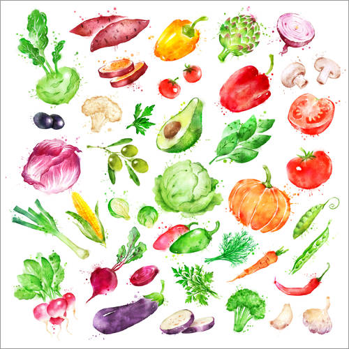 Adesivo murale Fruits and vegetables watercolor