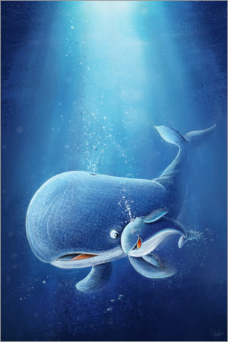 Poster Sweet whale with baby