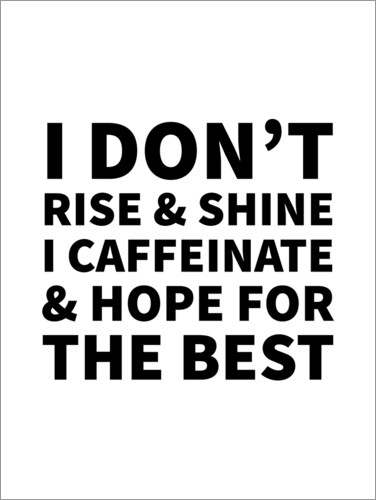 Poster Premium I Don't Rise and Shine I Caffeinate and Hope for the Best