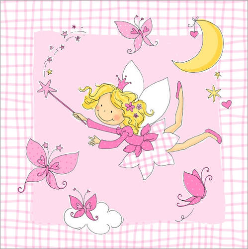 Adesivo murale flying fairy with butterflies on checkered background