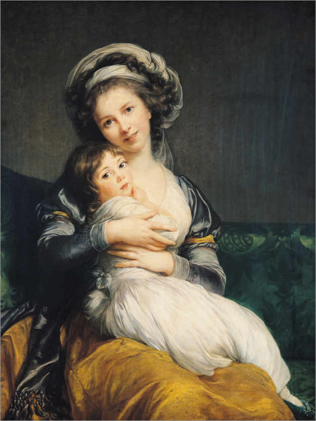 Poster Premium Elisabeth Louise Vigee-Lebrun with turban and child