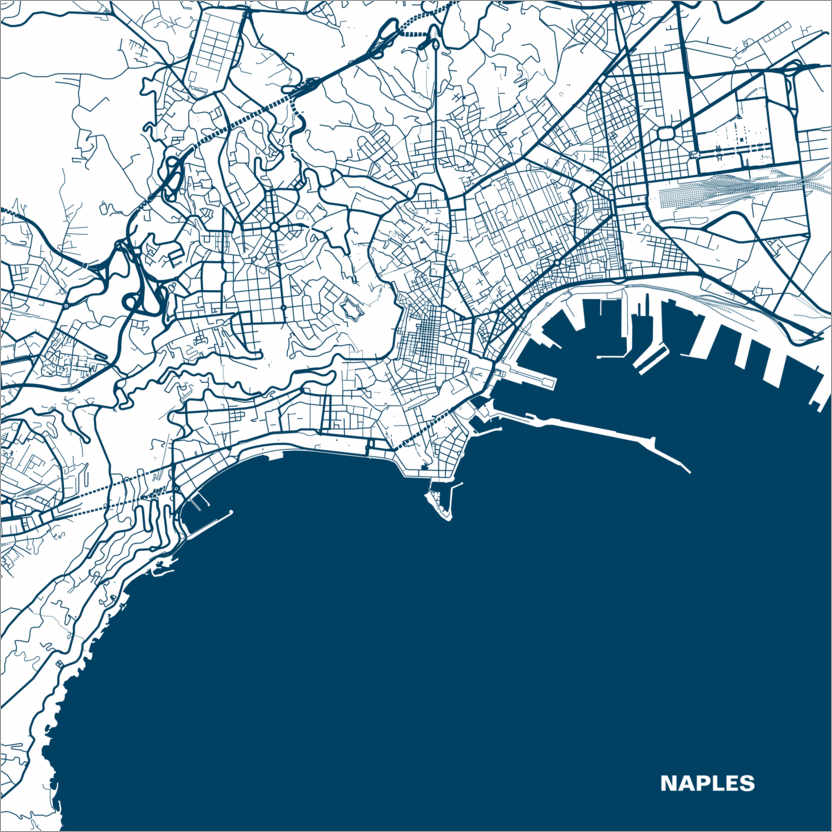 Cartina Napoli Da Stampare.44spaces Mappa Di Napoli Posterlounge It