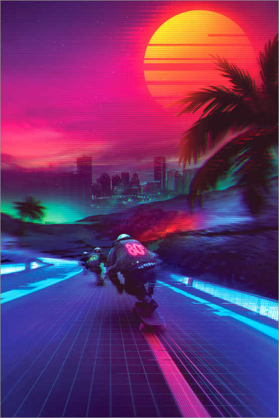 Poster Premium Synthwave Midnight Outrun