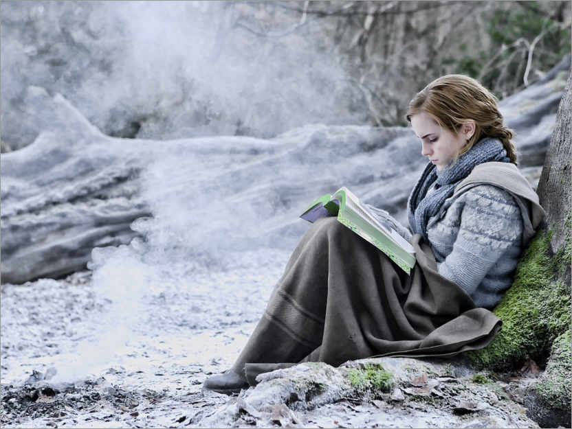 Poster Premium The Deathly Hallows I - Hermione with her book