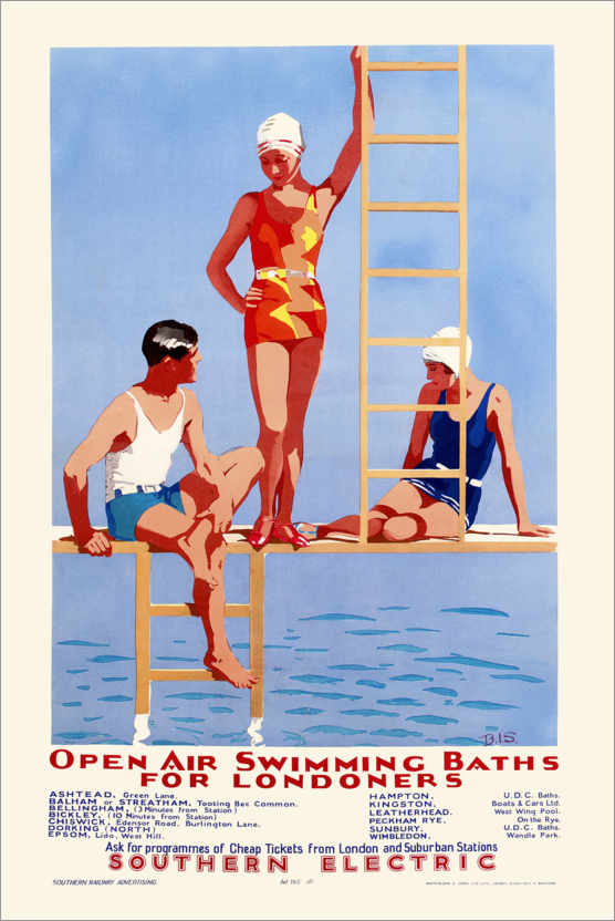 Poster Premium Open Air Swimming Baths for Londoners