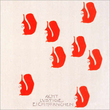 Stampa su schiuma dura  Picture Book - Eight funny squirrels - Koloman Moser