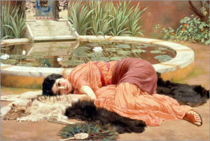 Stampa su schiuma dura  Sweet Nothings (Dolce Far Niente) - John William Godward
