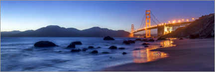 Stampa su tela  San Francisco Golden Gate Bridge at sunrise - Jan Christopher Becke