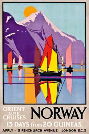 Stampa su tela  Orient Line Cruises Norway - M.V. Jones