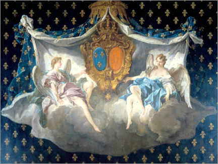 Stampa su schiuma dura  Allegory of the arms of France and Navarre - François Boucher