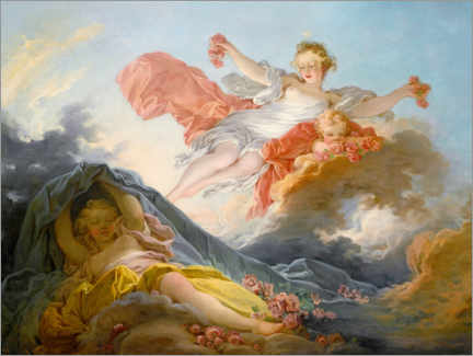 Poster Premium  The goddess aurora triumphing over night - Jean-Honoré Fragonard