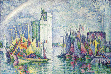 Poster Premium Rainbow over the port of La Rochelle