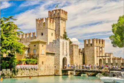 Poster Premium  The Scaliger Castle in Sirmione, Italy
