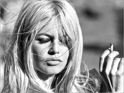Stampa su tela  Brigitte Bardot al vento - Celebrity Collection