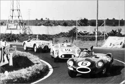 Poster Premium Fangio, Moss and Hawthorn at the Le Mans 24-hour race 1955