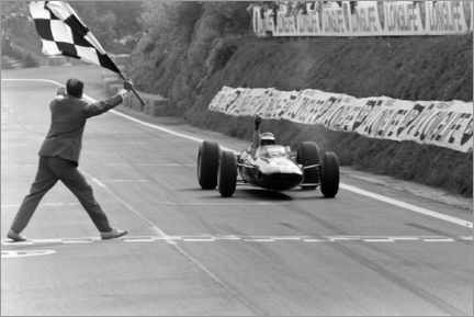 Stampa su tela  Jim Clark takes the chequered flag, French GP 1965
