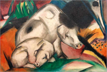 Poster Premium  Maiali (madre maiale) - Franz Marc