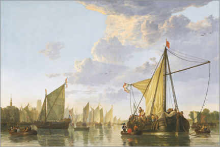 Stampa su legno  The Maas at Dordrecht - Aelbert Cuyp