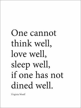 Poster Premium  Dine well - Virginia Woolf quote - Finlay and Noa