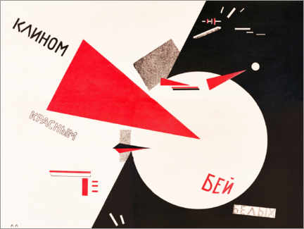 Poster Premium  Beat the Whites with the Red Wedge - El Lissitzky