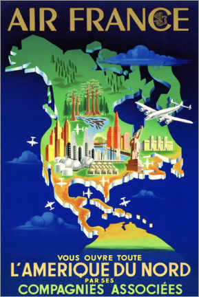 Poster Premium  Air France North America Travel - Travel Collection