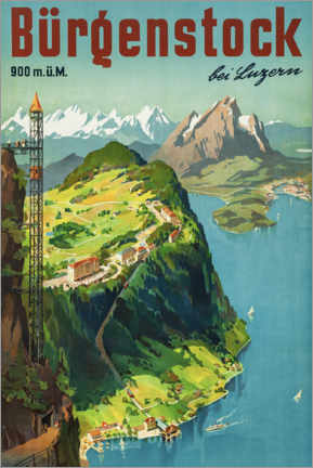 Stampa su legno  Bürgenstock vicino a Lucerna - Travel Collection