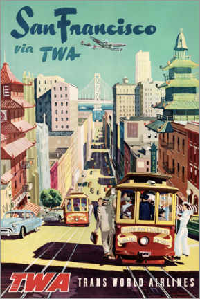 Poster Premium  San Francisco con TWA - Travel Collection
