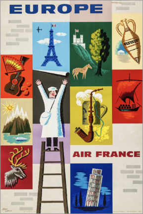 Poster Premium  Europa con Air France - Travel Collection