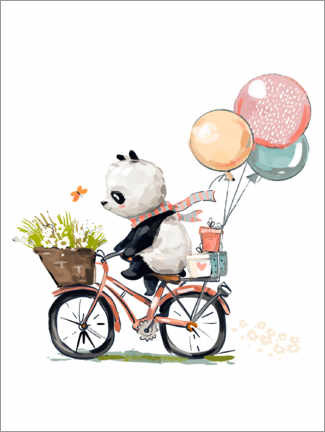 Stampa su plexi-alluminio  Panda in bici - Kidz Collection