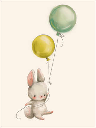 Poster Premium  Coniglietto con palloncini - Kidz Collection