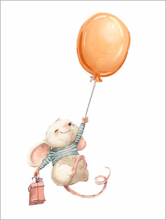 Poster Premium  Topolino con palloncino - Kidz Collection