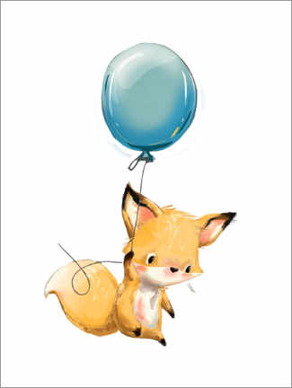 Poster Premium  Piccola volpe con palloncino - Kidz Collection
