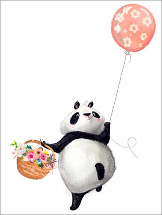 Poster Premium  Panda con palloncino - Kidz Collection