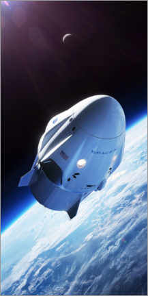 Poster Premium  Dragon Crew di SpaceX in orbita - Spacex