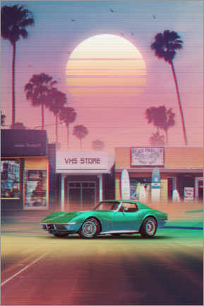 Stampa su vetro acrilico  Synthwave Sunset Drive - Denny Busyet