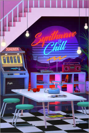 Poster Premium  Synthwave And Chill - Denny Busyet