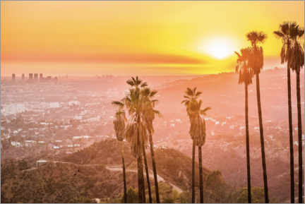 Stampa su tela  Tramonto a Griffith Park, Los Angeles