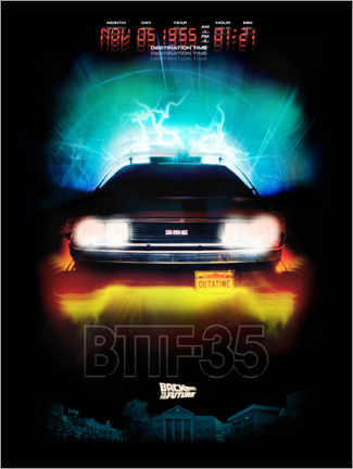Poster Premium  DeLorean Night Ride