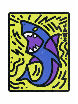 Poster Premium  Jaws (Lo squalo) - stile Keith Haring