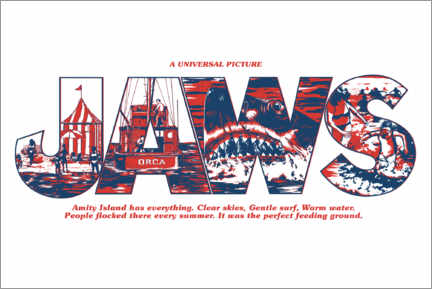 Poster Premium  Jaws - Perfect feeding ground (bianco)