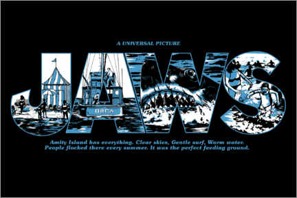 Poster Premium  Jaws - Perfect feeding ground (nero)