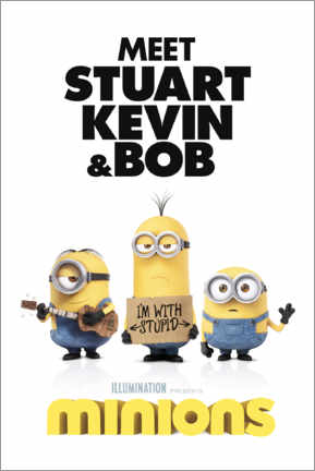 Stampa su tela  Minions - I'm with stupid