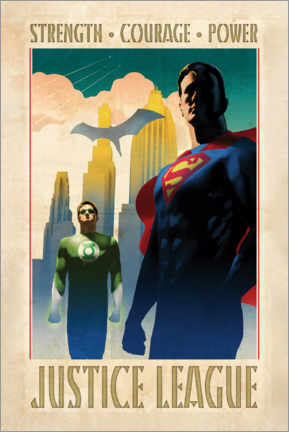 Stampa su plexi-alluminio  Justice League - Superman & Green Lantern