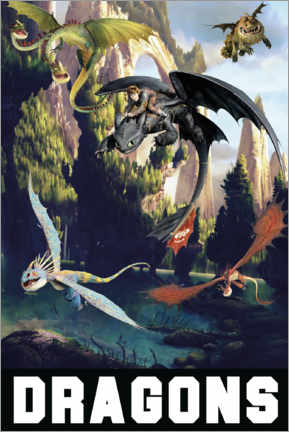 Stampa su legno  DreamWorks Dragons excursion
