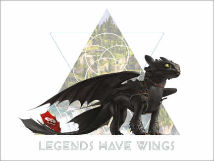 Stampa su alluminio  Legends have wings - Toothless