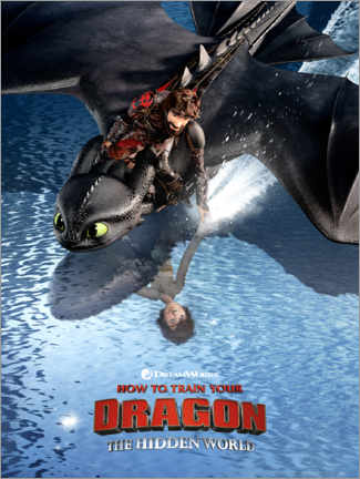 Poster Premium The Hidden World - Hiccup & Toothless