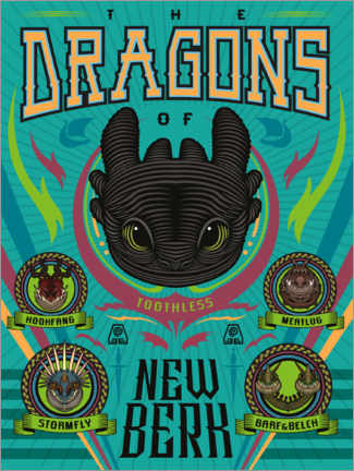 Poster Premium The Dragons of New Berk