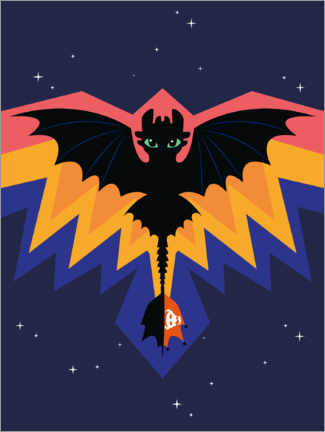 Poster Premium Toothless - Dragon wings